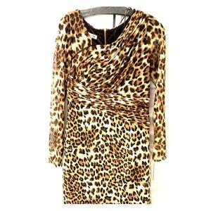 Kay Unger Mesh Jersey Animal Print Dress